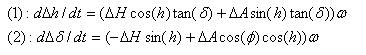 Método de Scheiner: modelizacion de las derivas en declinación y ascensión recta en función del error de puesta en estación