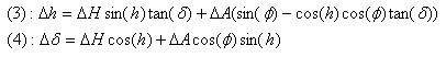 Método de Scheiner: modelizacion del error en declinación y ascensión recta en función del error de puesta en estación